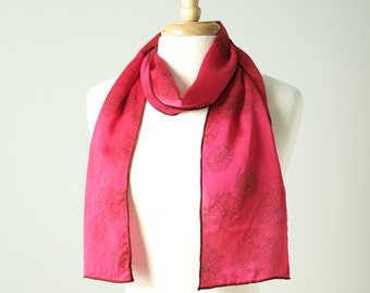 deep pink yarrow hand dyed and printed silk scarf with flowers