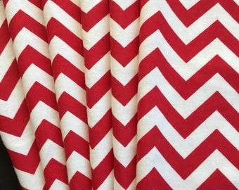 Red and White Cloth Napkins, Reusable Napkins, Eco Friendly Napkins, Pack of 6, Red Chevron Napkins, Red Kitchen, Housewarming Gift