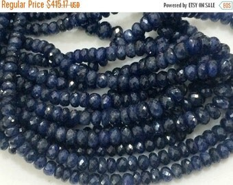 ON SALE 55% Blue Sapphire Faceted Rondelle, Sapphire Necklace, Sapphire Jewelry, Original Sapphire Necklace, 3.5mm - 6.5mm Approx., 10 Inch