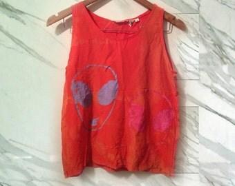 90s Orange Silk Tie Dye Bold Boho Pastel Pink Purple Alien Face Screenprint Tank size Medium