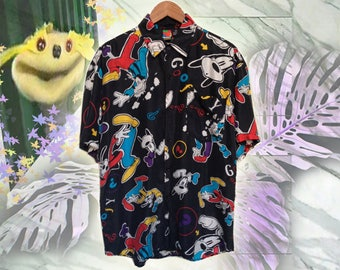90s Black Silk Disney Goofy being Silly Print Unisex Fresh Prince Raver Club Kid Short Sleeve Summer Shirt size Large