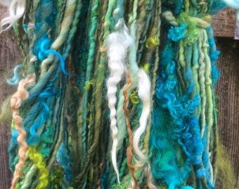 HANDSPUN Yarn Polwarth Wool Silk Thick and Thin with Hanging Locks Bulky Yarn