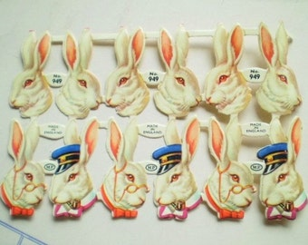 Rabbits - Vintage Paper Die Cuts - Made in England - Color Embossed Diecuts Bunnies