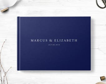 Navy wedding guest book, Landscape, Reception guest signing book, Various colors