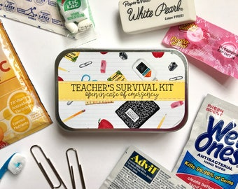 Teacher Gift, Teacher Tag, Teacher Appreciation Gift, Teacher Survival Kit, Teacher Emergency Kit, Back to School Gift, Teacher Sticker