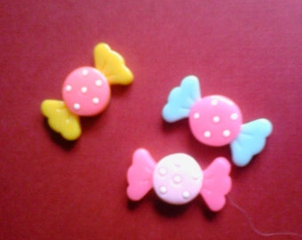 Kawaii yummy candy cabochons decoden deco diy charm 3 pcs   USA seller