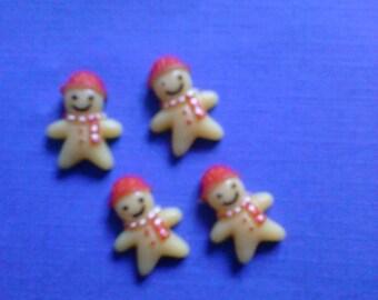 Kawaii small gingerbread man cabochon decoden deco diy charms 4 pcs--USA seller