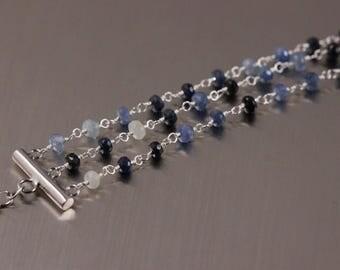 Blue Sapphire Bracelet, Argentium Sterling Silver, 3 Three Strand Bracelet, Wire Wrapped, September Birthstone, Multiple Strand