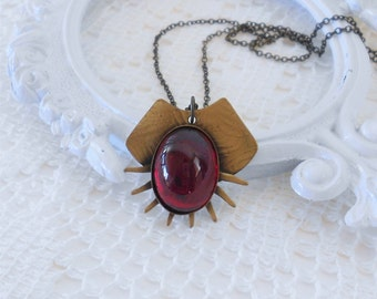 Garnet Necklace, Red Crystal Necklace, Art Deco Necklace, Vintage Glass Necklace, Sunburst Necklace, Deep Red Pendant, Estate Jewelry, OOAK