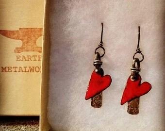 Heart earrings, heart jewelry, torch fired enamel heart earrings, gifts for her, red dangle heart earrings, blue hearts
