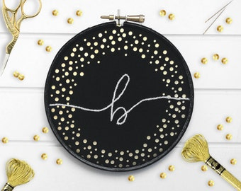 "Embroidered Initial Hoop Art // Black Fabric Gold Confetti Embroidered Initial 5"" Wall Art"
