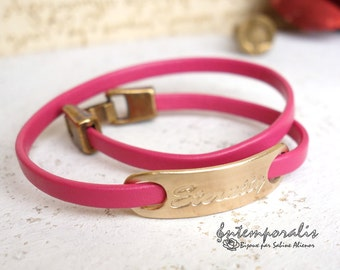 Bronze and fushia leather bracelet, Eternity, OOAK, SABR32
