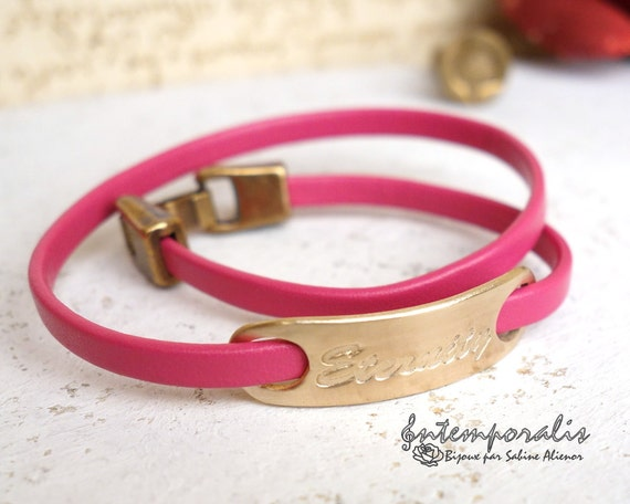 Bronze and fushia leather bracelet, Eternity, OOAK, SABR32