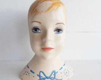 Vintage Mannequin Head,  1960's Young Girl Mannequin Head