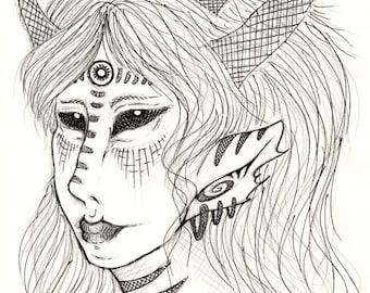Original Drawing Whispers of Night