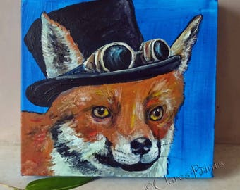 Steampunk Fox Art Original Art Acrylic Painting on Canvas OOAK