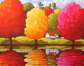 5x7 Art Print Folk Art Giclee Fall River Autumn Trees Color Fall Cottage Water Landscape Wall Artwork Archival Reproduction by Cathy Horvath