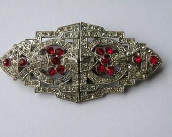 Coro Duette clear, red rhinestone brooch, dress clip, shoe clip. Art Deco duette, double clip brooch.
