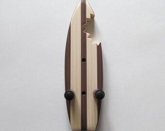 Ukulele wall mount hanger, mini shark bite surfboard, dark brown stain