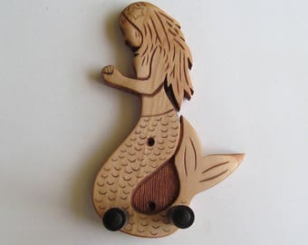 Ukulele wall mount hanger, hand carved mermaid