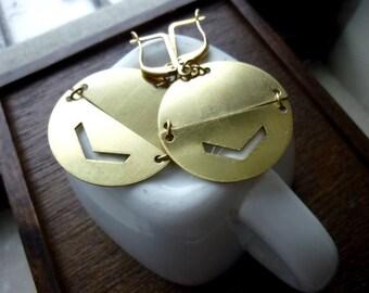 Raw Brass Circle Chevron Earrings, Geometric, Bohemian, Boho Chic, Dangle Earrings