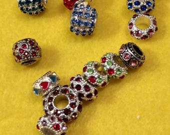 Assorted Lot European Rhinestone Beads, 16 European Rondelle Beads, Large Hole Rhinestone Beads, Silver Plated European Beads