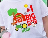 SALE ENDS MAR7 Farm Animal Big Sister Shirt - with Horse Cow Sheep Cat Red Barn personalized name age - Farm Shirt - Farm Big Sister Shirt -