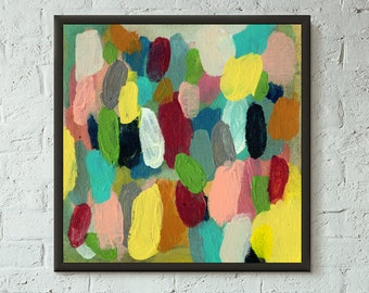 Simply Pretend 4 of 6 // Modern Abstract Art Original Bold x8 Mixed Media Acrylic Painting on Canvas Panel, Free US Shipping, Lisa Barbero