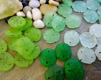 Sand Dollars, Small, Sea Glass, 20mm, Olivine, Shamrock, Peridot, Seafoam, Autumn Green, Priced per Piece