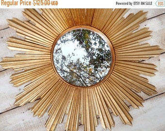 HOLIDAY SALE Starburst Mirror / Retro / Atomic / Mid Century Modern Decor / Gold Mirror
