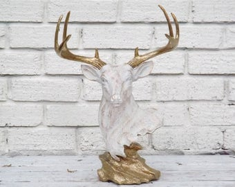 Deer Head Bust~Table Top~Taxidermy~Gold and White~Necklace Organizer~Deer Sculpture~Nursery~Centerpiece~Woodland~Antler~Stag~Office Decor