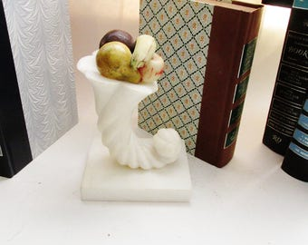 Stone Fruit Cornucopia Bookend, White Marble Horn of Plenty with Stone Fruit, Single Bookend, Marble Bookend, Stone Fruit, 1950's Cornucopia