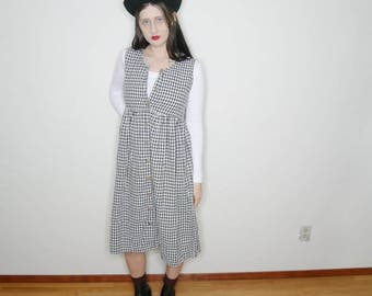 90s gingham black and white sleevless button down earthy grunge dress size small