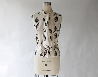 1960s Necktie Blouse // 60s Vintage Brown and White Button Front Sleeveless Top // Deadstock // Large
