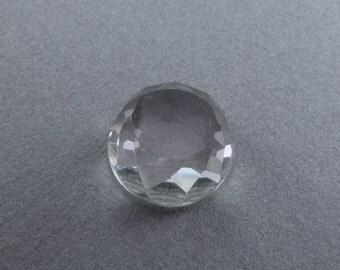 QUARTZ Rose Cut ROUND Cabochon. Natural.  Daisy Cut. Clear Quartz / White Quartz. Oval. 1 pc. 7.85 cts. 12.5 mm diameter 6mm height (QTZ473)
