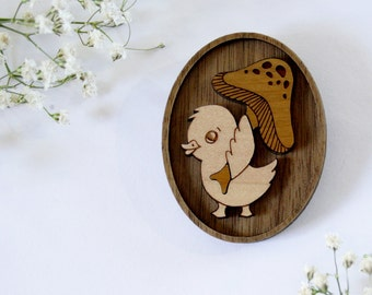 Coopers Creek Vintage Duck Wearable Art Pin by Winnifreds Daughter