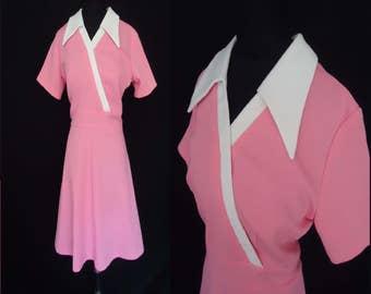 Bright Pink Aline Vintage 1960's MOD Scooter Dress L XL