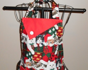Christmas Cats in Stockings Women's Apron