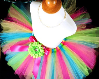 Girls Colorful Birthday Tutu...Yellow, Turquoise, Lime and Hot Pink Tutu...Teen and Adult Women's Fun Tutu...Newborn to Adult...JUBILEE