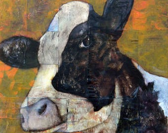 Clarabelle 12 x 12 cow print