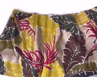 Vintage 1950s Barkcloth Curtain Valance … Tropical, Hawaiiana Granny Chic Retro Cotton, Chartreuse, Maroon, Gray Bark Cloth, 10 Feet Long