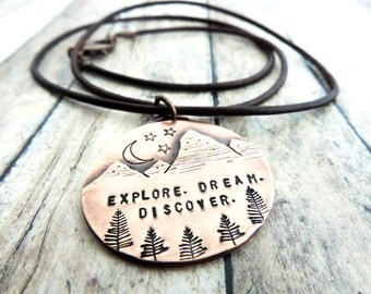Explore Dream Discover Mountain Necklace - Mountain Landscape - Mountain Outdoor Woman - Nature Jewelry - Mark Twain Quote -  Wanderlust