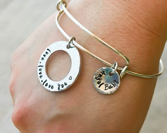 Custom Charm Stamped EXPANDABLE Bangle Bracelet, gold brass silver copper bronze Metals, Birthday Best Life Ever Love Birth Greek mommy