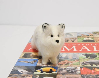 Arctic Fox - Felted Arctic Fox - Needle Felted Animal - White Fox