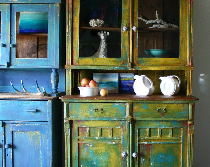 Solid Wood Hutch Cupboard Antique Cabinet Bohemian Hand Painted