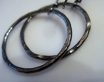 Small Black Hoop Earrings Silver Hoops Black Rhodium Large Hoop Earring Black Silver Hoop Earring Sterling Silver Hoops Boho Earring