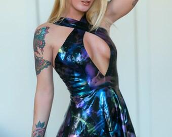 Oil Slick Marble Effect Latex Mini Dress