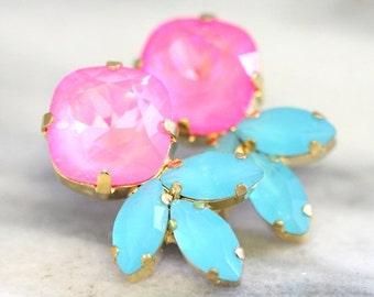 Pink Turquoise Earrings,Serenity Rose Quartz Earrings,Swarovski Pink Aqua Earrings,Bridal Aqua Pink Earrings Gift For Her, Swarovski Studs