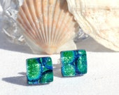 "Small Dichroic Glass Stud Earrings, Fused Glass Jewelry, Sterling Silver, Square - Peacock Blue Green,  3/8"" or 10mm (Item #30936-E)"