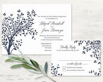 Wedding Invitation Printable Template Rustic Tree Wedding Invitation RSVP Navy Blue Wedding Set Rustic Wedding Handwritten Script Template